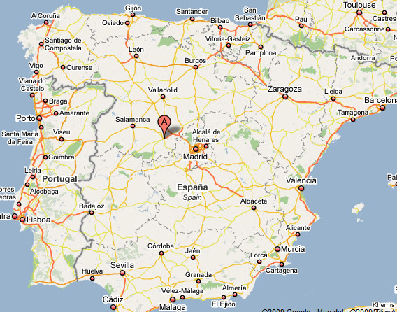 Where is Avila The geographical location of Avila in Spain